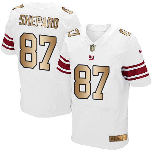 Nike Giants #87 Sterling Shepard White Men's Stitched NFL Elite Gold Jersey
