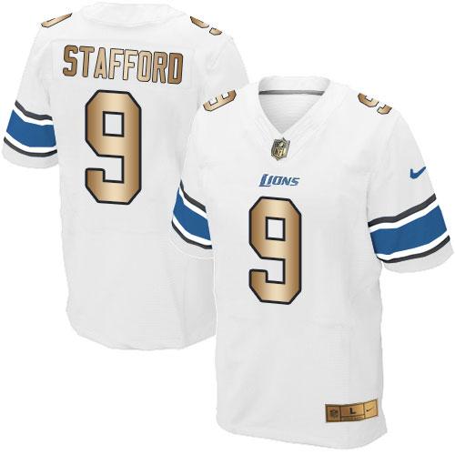 Nike Lions #9 Matthew Stafford White Men's Stitched NFL Elite Gold Jersey