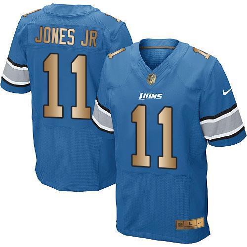 Nike Lions #11 Marvin Jones Jr Blue Team Color Men's Stitched NFL Elite Gold Jersey