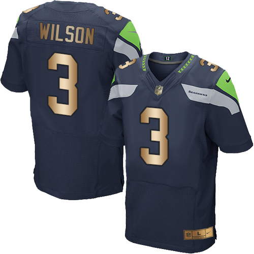Nike Seahawks #3 Russell Wilson Steel Blue Team Color Men's Stitched NFL Elite Gold Jersey