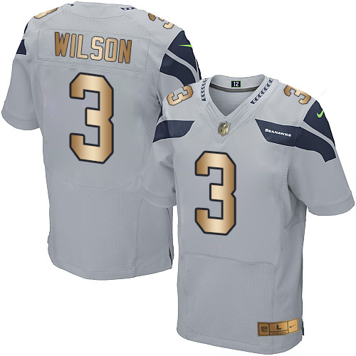 Nike Seahawks #3 Russell Wilson Grey Alternate Men's Stitched NFL Elite Gold Jersey