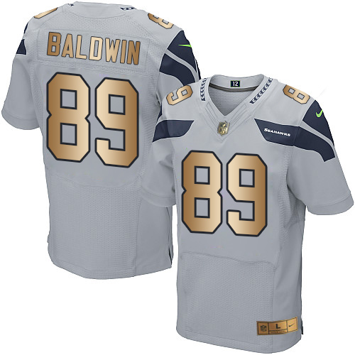 Nike Seahawks #89 Doug Baldwin Grey Alternate Men's Stitched NFL Elite Gold Jersey