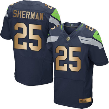 Nike Seahawks #25 Richard Sherman Steel Blue Team Color Men's Stitched NFL Elite Gold Jersey
