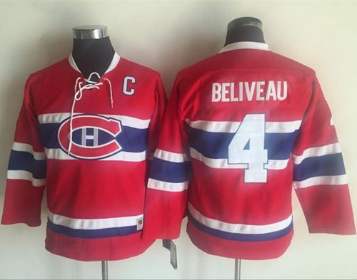 Canadiens #4 Jean Beliveau Red CCM Throwback Stitched Youth NHL Jersey