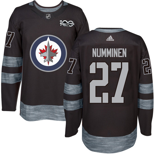 Men's Winnipeg Jets #27 Teppo Numminen Black 100th Anniversary Stitched NHL 2017 adidas Hockey Jersey