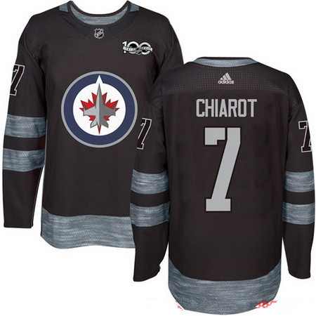 Men's Winnipeg Jets #7 Ben Chiarot Black 100th Anniversary Stitched NHL 2017 adidas Hockey Jersey