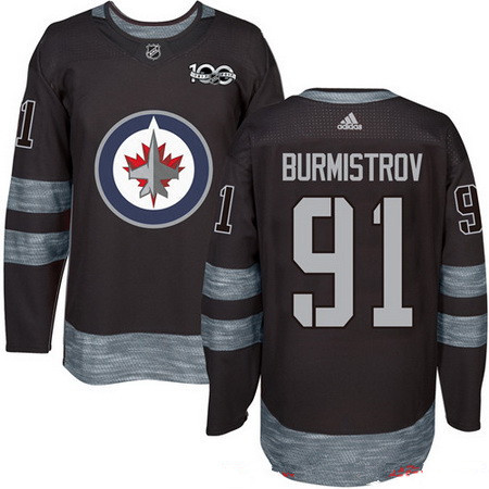 Men's Winnipeg Jets #91 Alexander Burmistrov Black 100th Anniversary Stitched NHL 2017 adidas Hockey Jersey