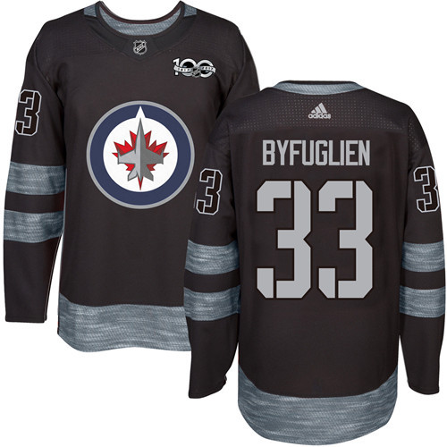 Men's Winnipeg Jets #33 Dustin Byfuglien Black 100th Anniversary Stitched NHL 2017 adidas Hockey Jersey
