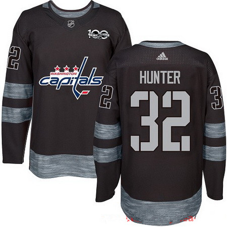 Men's Washington Capitals #32 Dale Hunter Black 100th Anniversary Stitched NHL 2017 adidas Hockey Jersey