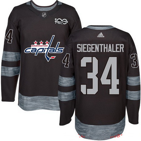 Men's Washington Capitals #34 Jonas Siegenthaler Black 100th Anniversary Stitched NHL 2017 adidas Hockey Jersey