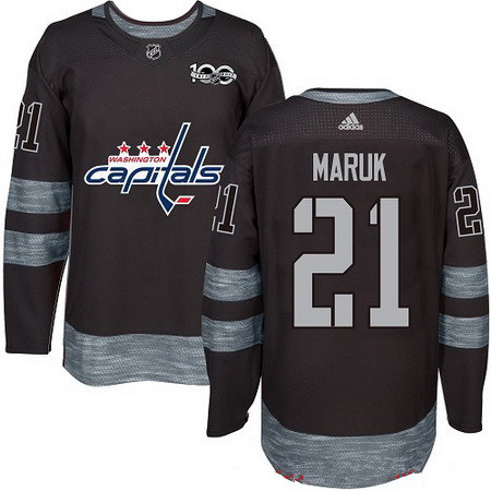Men's Washington Capitals #21 Dennis Maruk Black 100th Anniversary Stitched NHL 2017 adidas Hockey Jersey