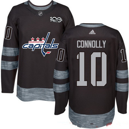 Men's Washington Capitals #10 Brett Connolly Black 100th Anniversary Stitched NHL 2017 adidas Hockey Jersey