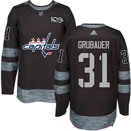 Men's Washington Capitals #31 Philipp Grubauer Black 100th Anniversary Stitched NHL 2017 adidas Hockey Jersey