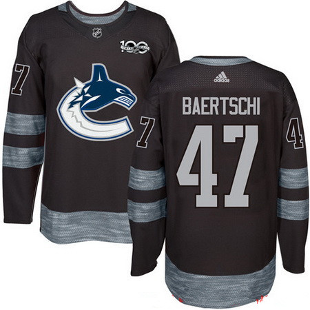 Men's Vancouver Canucks #47 Sven Baertschi Black 100th Anniversary Stitched NHL 2017 adidas Hockey Jersey