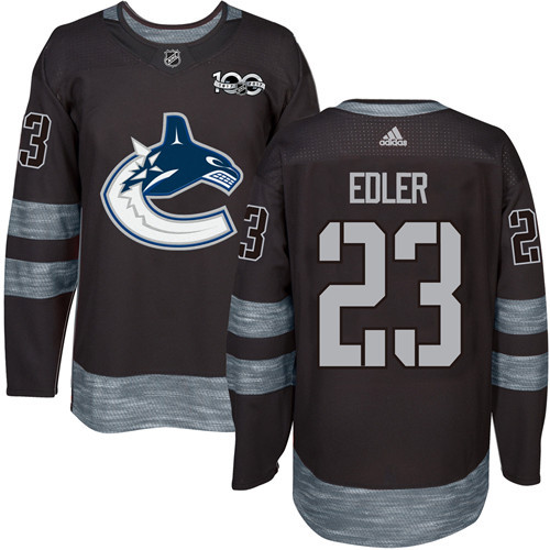 Men's Vancouver Canucks #23 Alexander Edler Black 100th Anniversary Stitched NHL 2017 adidas Hockey Jersey