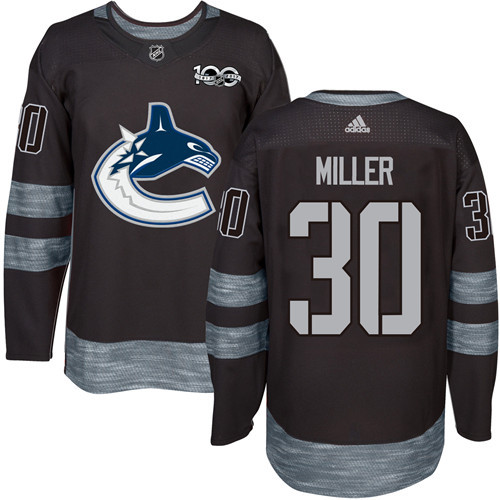 Men's Vancouver Canucks #30 Ryan Miller Black 100th Anniversary Stitched NHL 2017 adidas Hockey Jersey