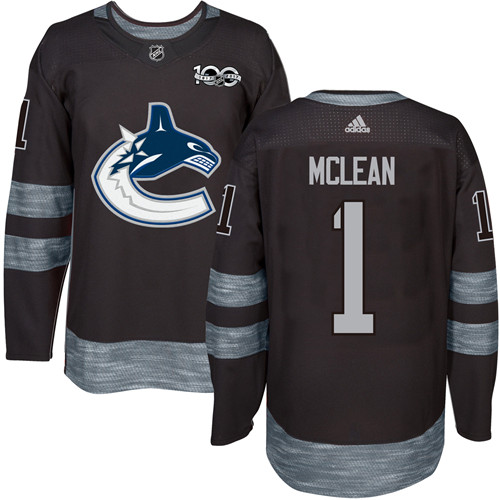 Men's Vancouver Canucks #1 Kirk Mclean Black 100th Anniversary Stitched NHL 2017 adidas Hockey Jersey