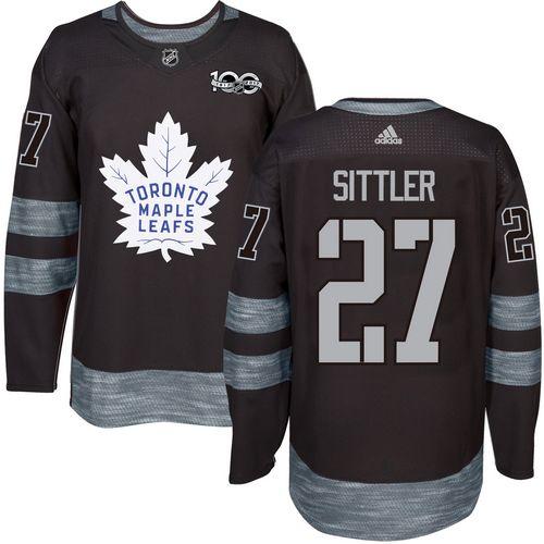 Men's Toronto Maple Leafs #27 Darryl Sittler Black 100th Anniversary Stitched NHL 2017 adidas Hockey Jersey
