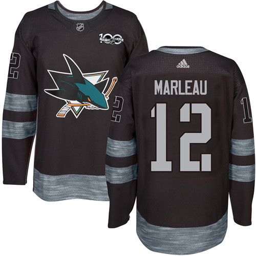 Men's San Jose Sharks #12 Patrick Marleau Black 100th Anniversary Stitched NHL 2017 adidas Hockey Jersey
