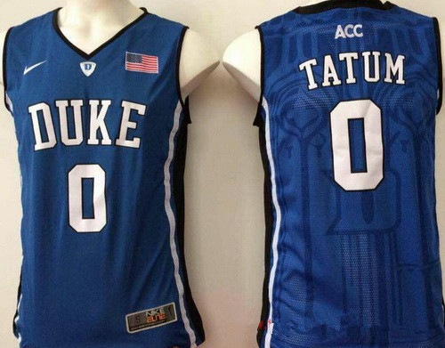 Men's Duke Blue Devils #0 Jayson Tatum Royal Blue College Basketball Stitched Nike Swingman Jersey