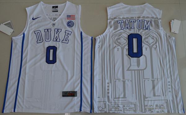 Men's Duke Blue Devils #0 Jayson Tatum White College Basketball Nike Swingman Stitched NCAA Jersey