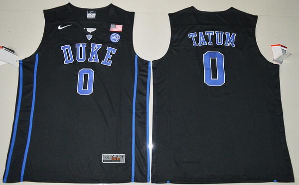Men's Duke Blue Devils #0 Jayson Tatum Black College Basketball Nike Swingman Stitched NCAA Jersey