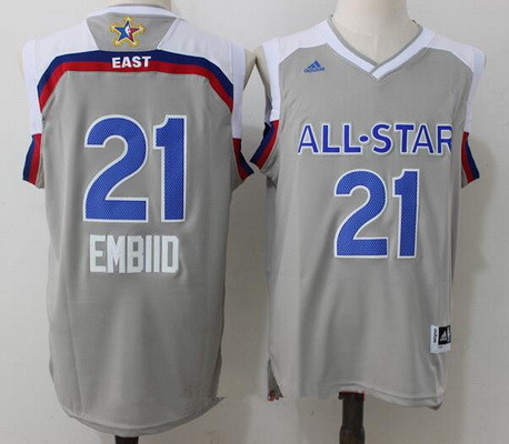 Men's Eastern Conference Philadelphia 76ers #21 Joel Embiid adidas Gray 2017 NBA All-Star Game Swingman Jersey