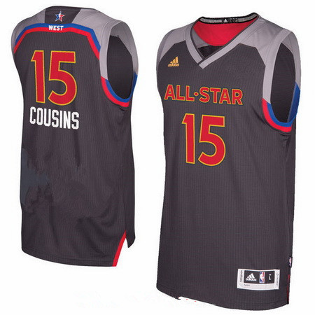 Men's Western Conference Sacramento Kings #15 DeMarcus Cousins adidas Black Charcoal 2017 NBA All-Star Game Swingman Jersey