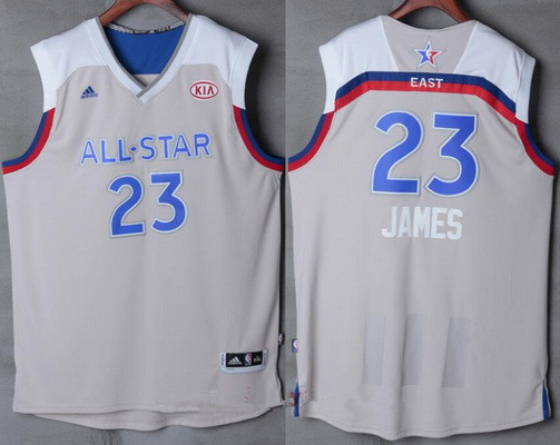Men's Eastern Conference Cleveland Cavaliers #23 LeBron James adidas Gray 2017 NBA All-Star Game Swingman Jersey