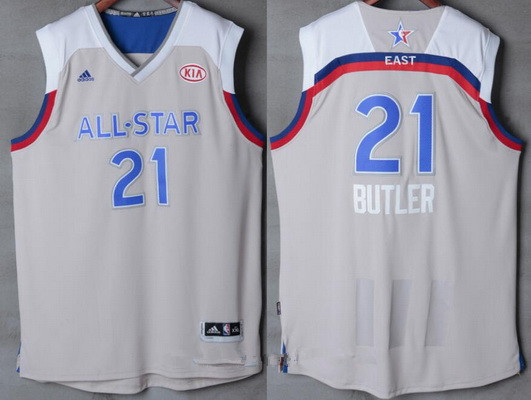 Men's Eastern Conference Chicago Bulls #21 Jimmy Butler adidas Gray 2017 NBA All-Star Game Swingman Jersey
