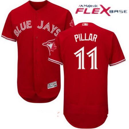 Men's Toronto Blue Jays #11 Kevin Pillar Red Stitched MLB 2017 Majestic Flex Base Jersey