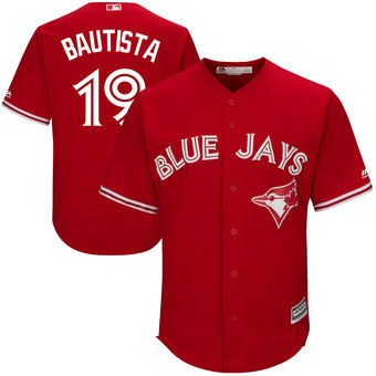Men's Toronto Blue Jays #19 Jose Bautista Red Stitched MLB 2017 Majestic Cool Base Jersey