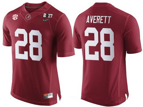 Men's Alabama Crimson Tide #28 Anthony Averett Red 2017 Championship Game Patch Stitched CFP Nike Limited Jersey