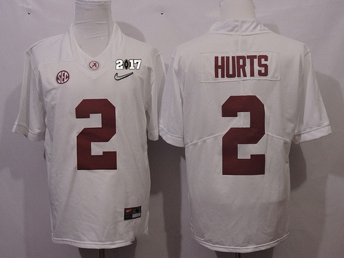 Men's Alabama Crimson Tide #2 Jalen Hurts White Diamond Quest 2017 Championship Game Patch Stitched CFP Nike Limited Jersey
