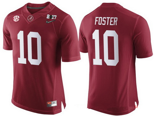 Men's Alabama Crimson Tide #10 Reuben Foster Red 2017 Championship Game Patch Stitched CFP Nike Limited Jersey