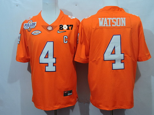 Men's Clemson Tigers #4 Deshaun Watson Orange Diamond Quest 2017 Championship Game Patch Stitched CFP Nike Limited Jersey