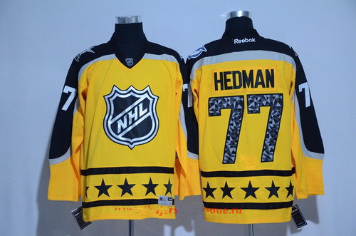 Men's Atlantic Division Tampa Bay Lightning #77 Victor Hedman Reebok Yellow 2017 NHL All-Star Stitched Ice Hockey Jersey
