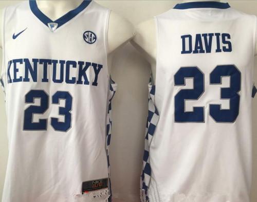 Men's Kentucky Wildcats #23 Anthony Davis White College Basketball 2017 Nike Swingman Stitched NCAA Jersey