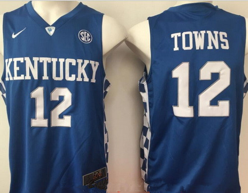 Men's Kentucky Wildcats #12 Karl-Anthony Towns Royal Blue College Basketball 2017 Nike Swingman Stitched NCAA Jersey