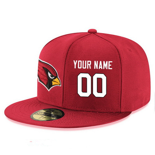 Arizona Cardinals Custom Snapback Cap NFL Player Red with White Number Stitched Hat