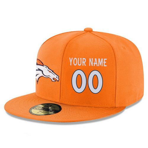 Denver Broncos Custom Snapback Cap NFL Player Orange with White Number Stitched Hat