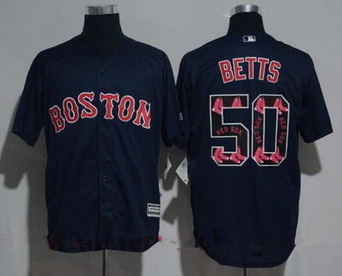 Men's Boston Red Sox #50 Mookie Betts Navy Blue Team Logo Ornamented Stitched MLB Majestic Cool Base Jersey