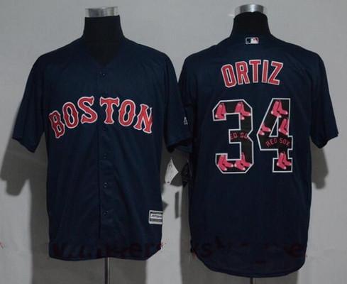 Men's Boston Red Sox #34 David Ortiz Navy Blue Team Logo Ornamented Stitched MLB Majestic Cool Base Jersey