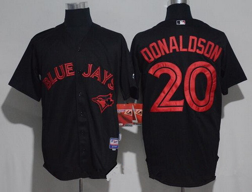Men's Toronto Blue Jays #20 Josh Donaldson Lights Out Black Fashion Stitched MLB Majestic Cool Base Jersey