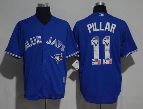 Men's Toronto Blue Jays #11 Kevin Pillar Royal Blue Team Logo Ornamented Stitched MLB Majestic Cool Base Jersey