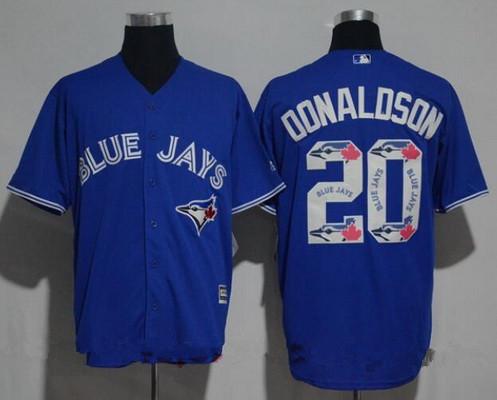 Men's Toronto Blue Jays #20 Josh Donaldson Royal Blue Team Logo Ornamented Stitched MLB Majestic Cool Base Jersey