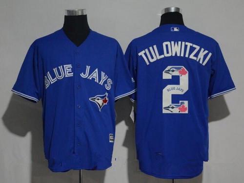 Men's Toronto Blue Jays #2 Troy Tulowitzki Royal Blue Team Logo Ornamented Stitched MLB Majestic Cool Base Jersey