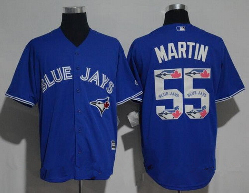 Men's Toronto Blue Jays #55 Russell Martin Royal Blue Team Logo Ornamented Stitched MLB Majestic Cool Base Jersey