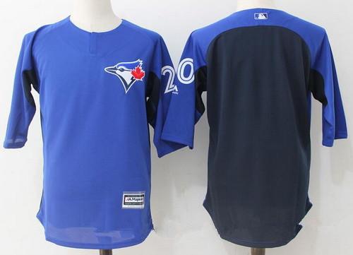 Men's Toronto Blue Jays #20 Josh Donaldson Royal Blue Navy Collection On-Field 34-Sleeve Stitched MLB Majestic Batting Practice Jersey