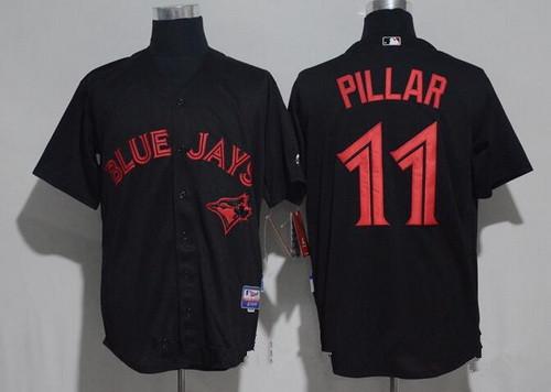 Men's Toronto Blue Jays #11 Kevin Pillar Lights Out Black Fashion Stitched MLB Majestic Cool Base Jersey